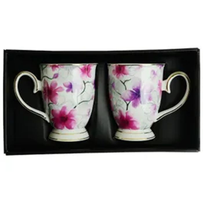 Mug Set In Delicate Flower Design *2 Piece