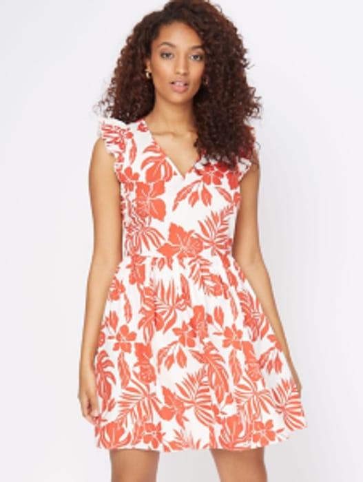 White Hibiscus Print Dress