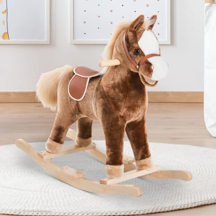 *SAVE £28* HOMCOM Kids Plush Rocking Horse-Brown