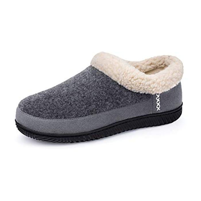 ULTRAIDEAS Mens Warm Memory Foam Slippers with Wool-like Collar