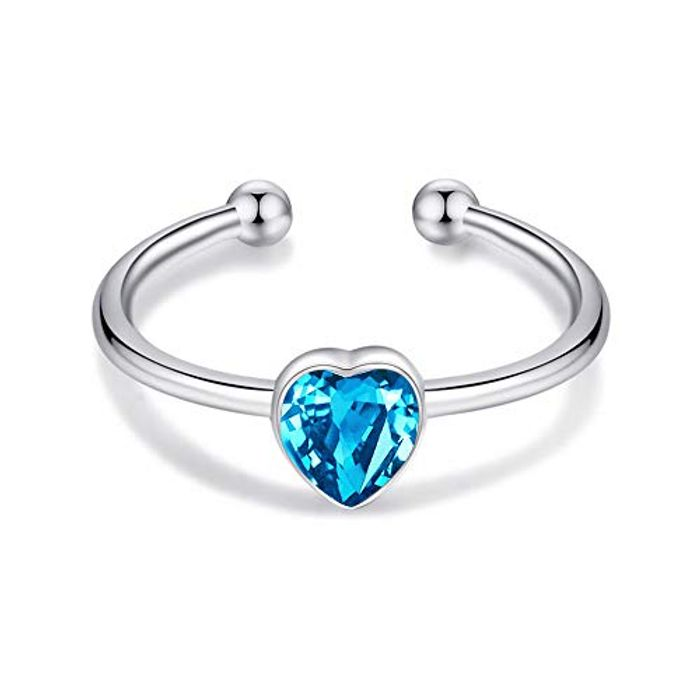 Sterling Silver Heart Shaped Stacking Ring for Women with Swarovski Crystal,