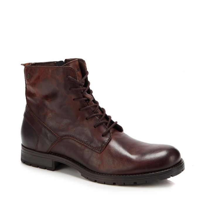 Jack & Jones-Chocolate Leather 'Orca' Boots  ( Size 6 )