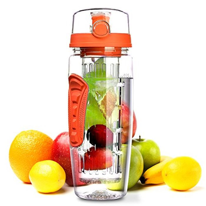 Fruit Infuser Water Bottle, 1L Leakproof Sport Water Bottle BPA Free