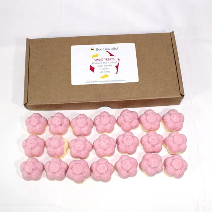 FREE DELIVERY NEW REDUCED 21 Mini Bath Bombs Rhubarb & Custard Scented