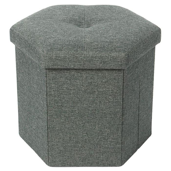 Foldable Hexagonal Poly Linen  Ottoman