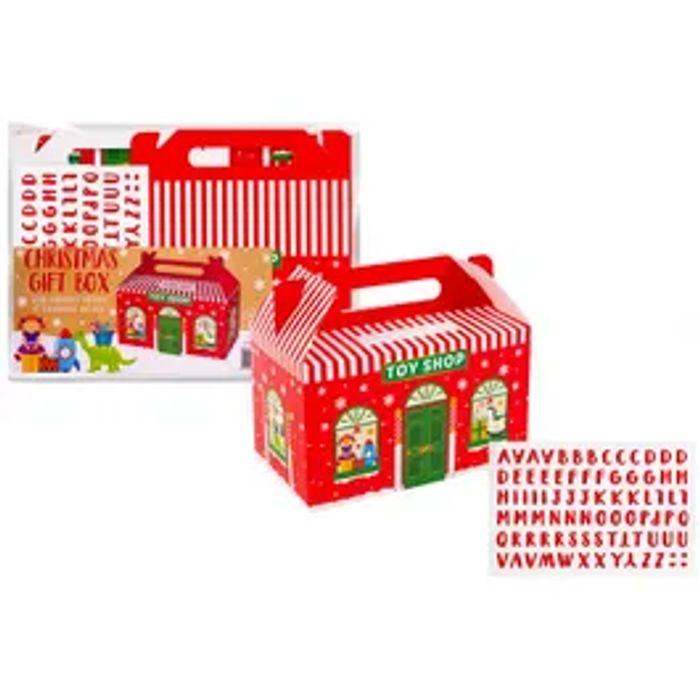 Christmas Toy Shop Gift Box With Handle & Sticker Sheet Of Alphabetical Letters