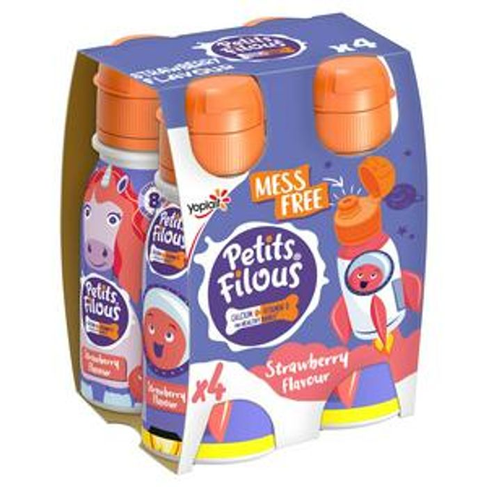 Petits Filous Strawberry or Vanilla Flavours Drinking Yogurt 4x100g