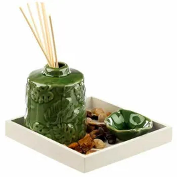 Banana Leaf Set With Oil Burner Diffuser & Tea Light Holder *Llama Set Too