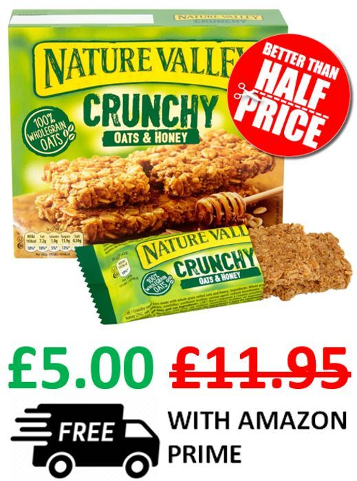 CHEAP! Nature Valley Crunchy Oats & Honey Cereal Bars - 25 Packets of 2 Bars