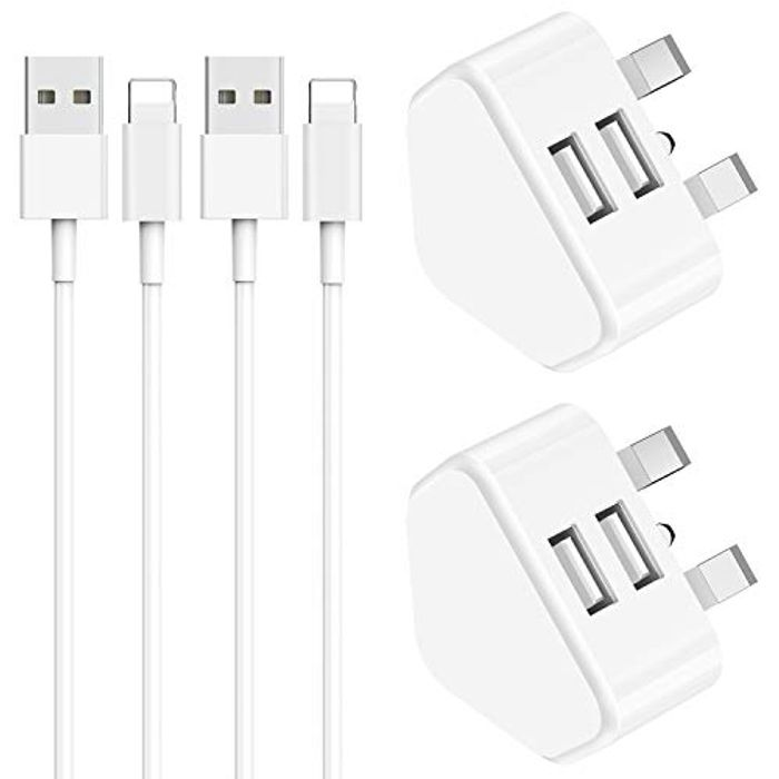2 X Chargers & Cables for Your Apple iPhone & iPad (Prime Delivery)