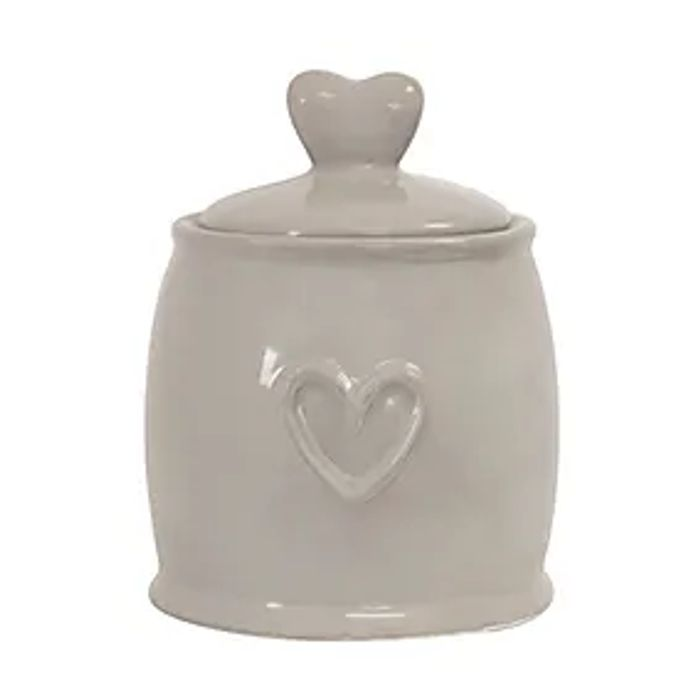 Country Taupe Heart Sugar Pot in STORE ONLY