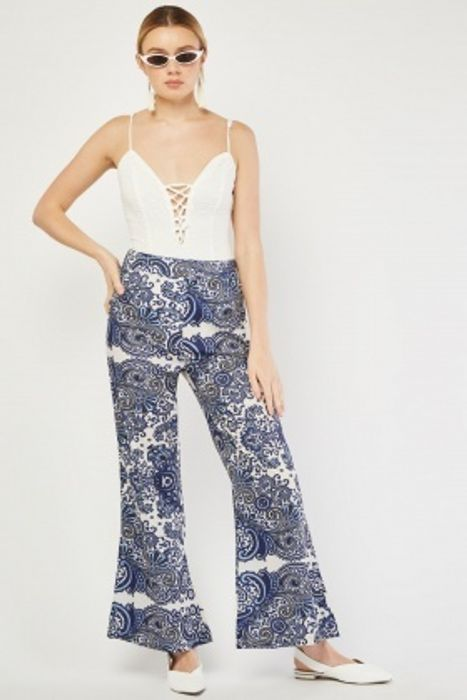 Ceramic Tile Printed Flared Trousers