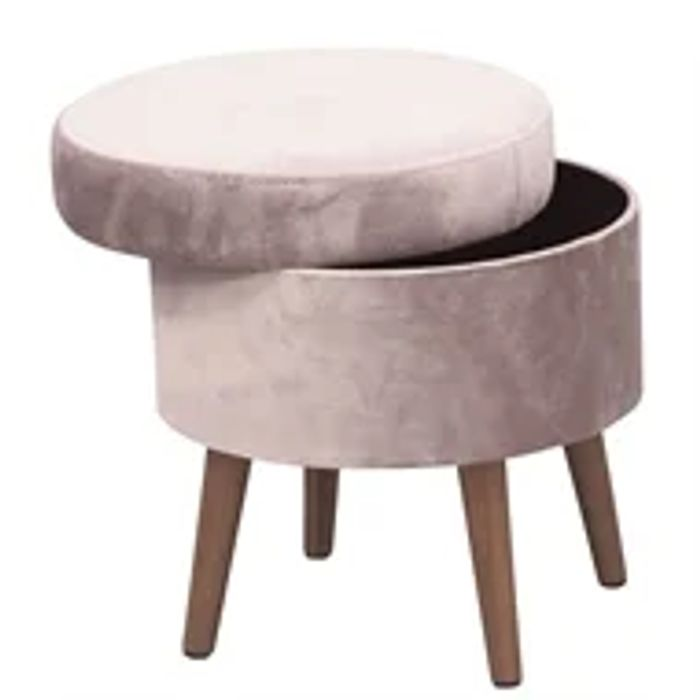 Round Velvet Storage Stool - Blush