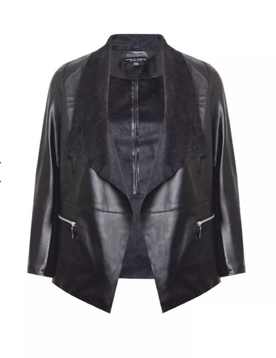 DP Curve Black Faux Leather Waterfall