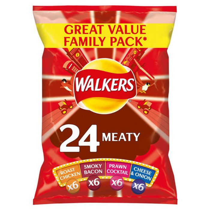 Best Price! Walkers Meaty or Classic Variety Crisps 24x25g
