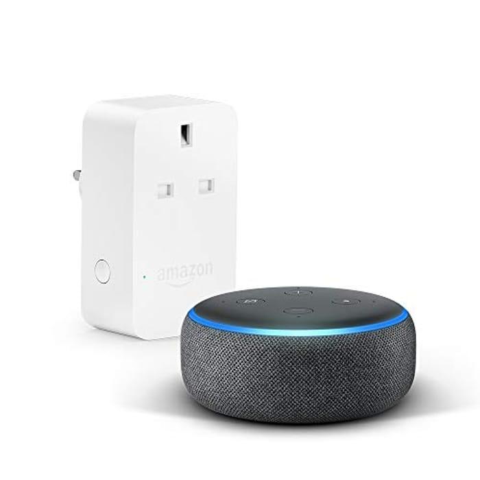 Echo Dot (3rd Gen), Charcoal Fabric + Amazon Smart Plug