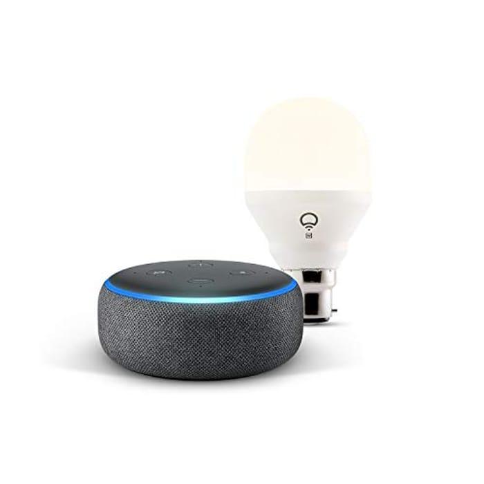 Echo Dot (3rd Gen), Charcoal Fabric + LIFX White Wi-Fi Smart Bulb LED