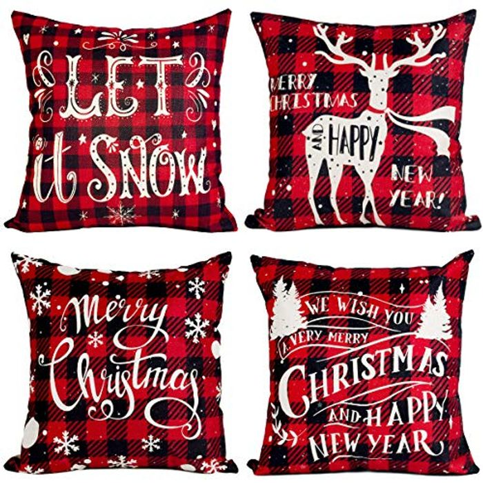 Red Black Christmas Pillow Covers, Pillow Case with £10 off Coupon