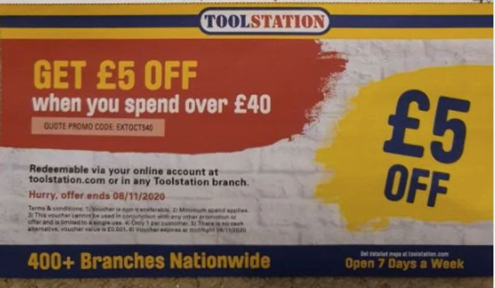 £5 off £40 Spend at Tool Station