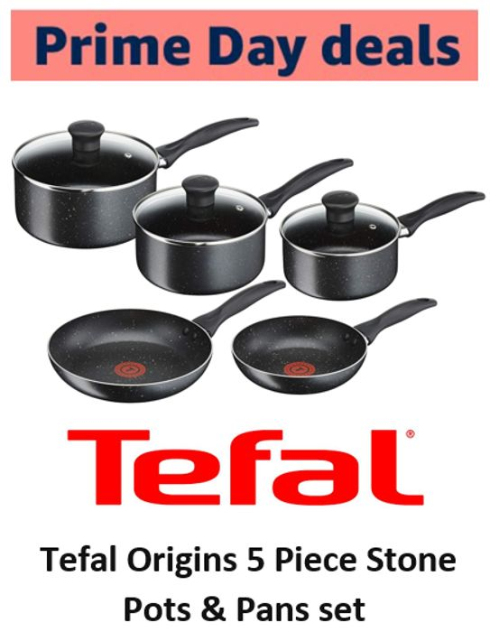 Tefal Origins 5 Piece Stone Pots and Pans Set