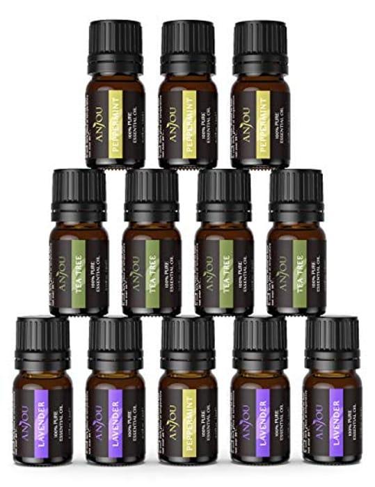 Anjou Essential Oils Set (12x 5mL Oils, Lavender, Tea Tree and Peppermint