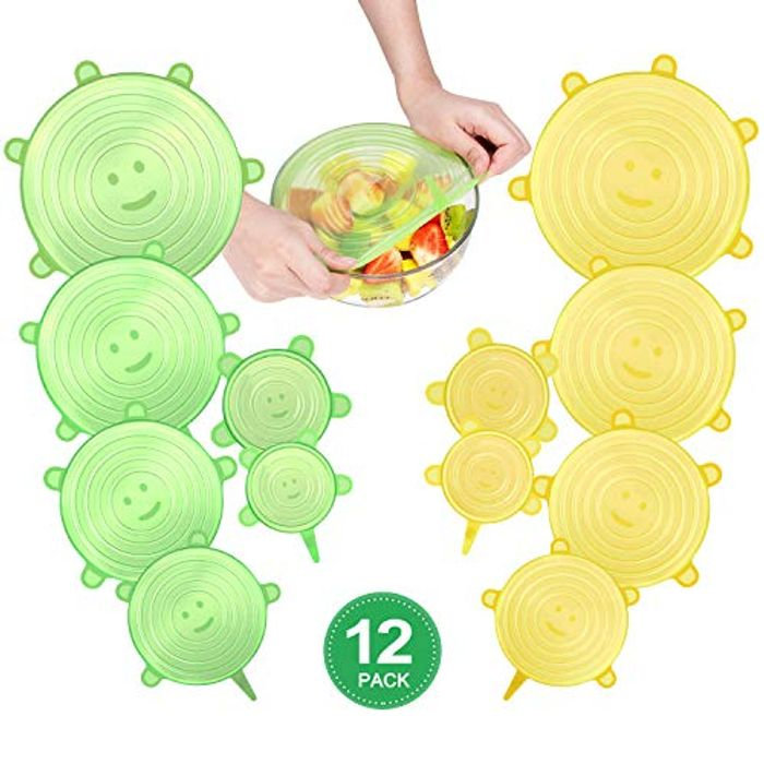 12 X Silicone Food Lids to Make Food Last Longer