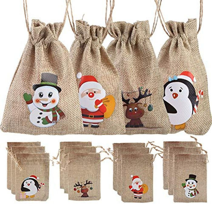 12 Christmas Jute Burlap Gift Bags Pouches with Drawstring