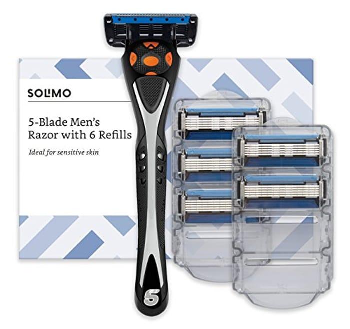 Amazon Brand Solimo Male 5 Blade Men'S Razor with 6 Refills