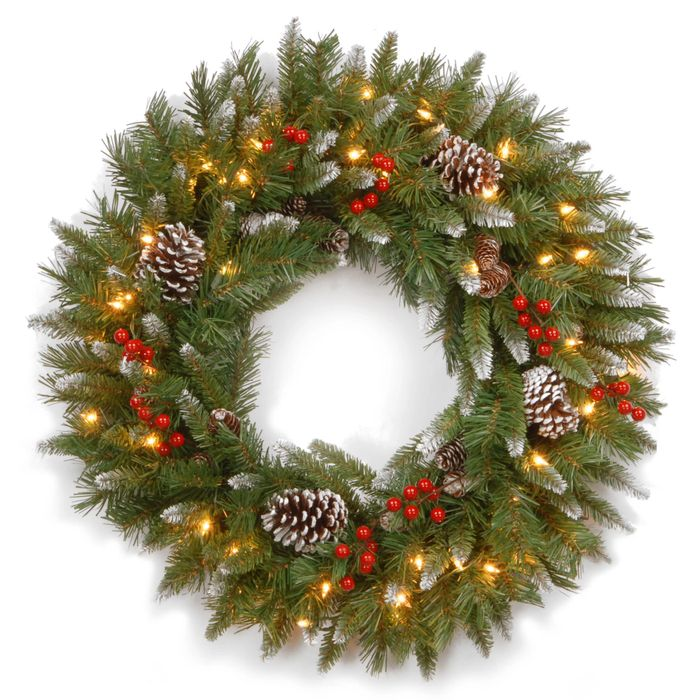 Frosted Berry Lighted Christmas Wreath