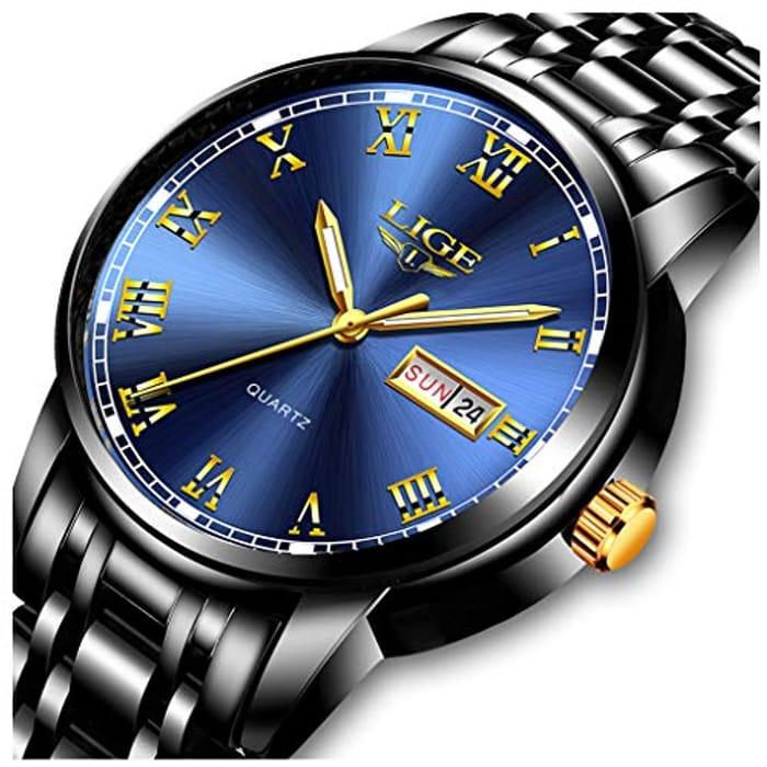 DEAL STACK - LIGEStainless Steel Waterproof Wristwatch + 20% Coupon