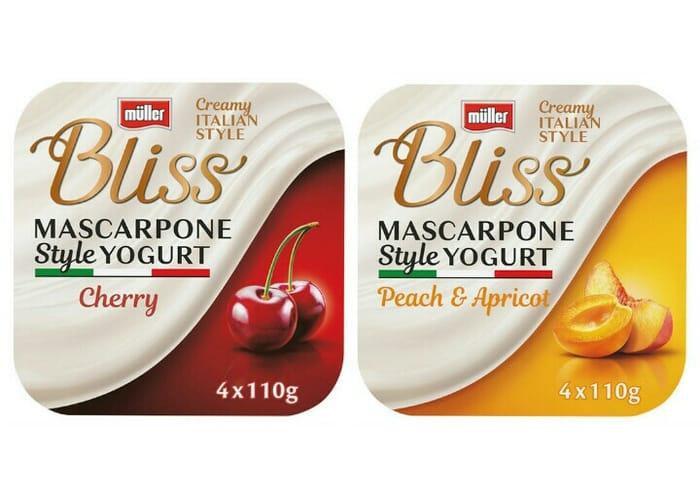 Muller Bliss Creamy Mascarpone Yogurt 4 X 110g (440g) - Cherry / Peach & Apricot
