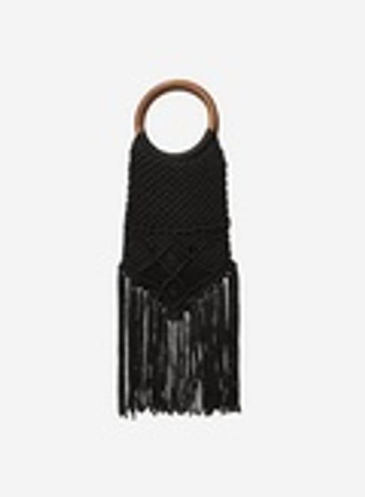 Black Crochet Circle Handle Bag