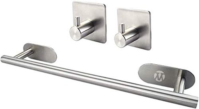 Deal Stack - Self Adhesive Single Towel Rail + 2 Free Hooks + 20% Coupon