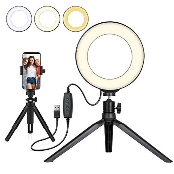 "DEAL STACK - UNIQUE BRIGHT 6"" Beauty Ring Light for Makeup + £5 Coupon"