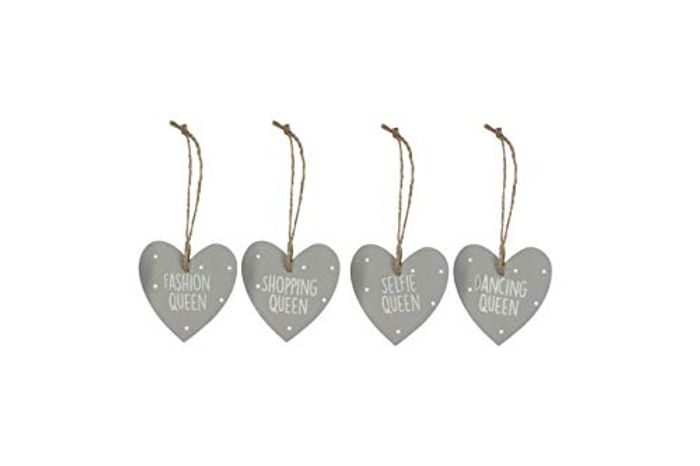 4pk Grey Wooden Heart Decorations