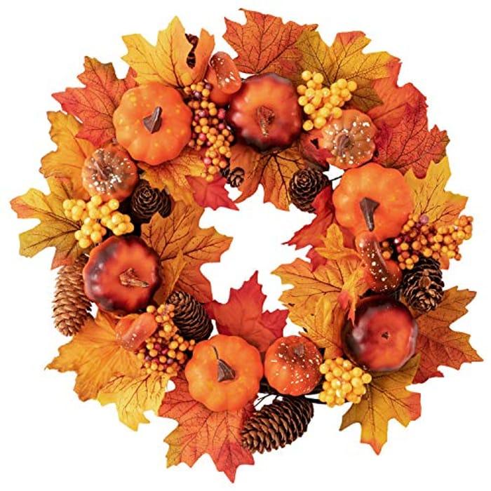 Fall Maple Leaf Pumpkin Door Wreath