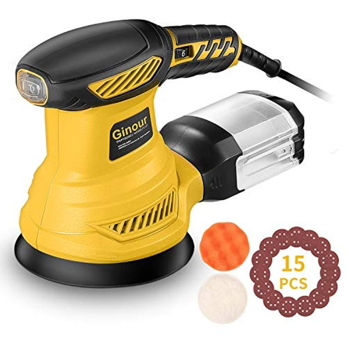 50% off Random Orbital Sander with 6 Variable Speeds and 15Pcs Sandpapers