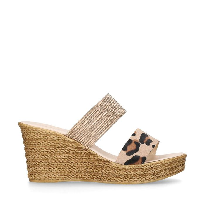 Carvela Comfort - Gold 'Sybil' Leather Wedge Sandals