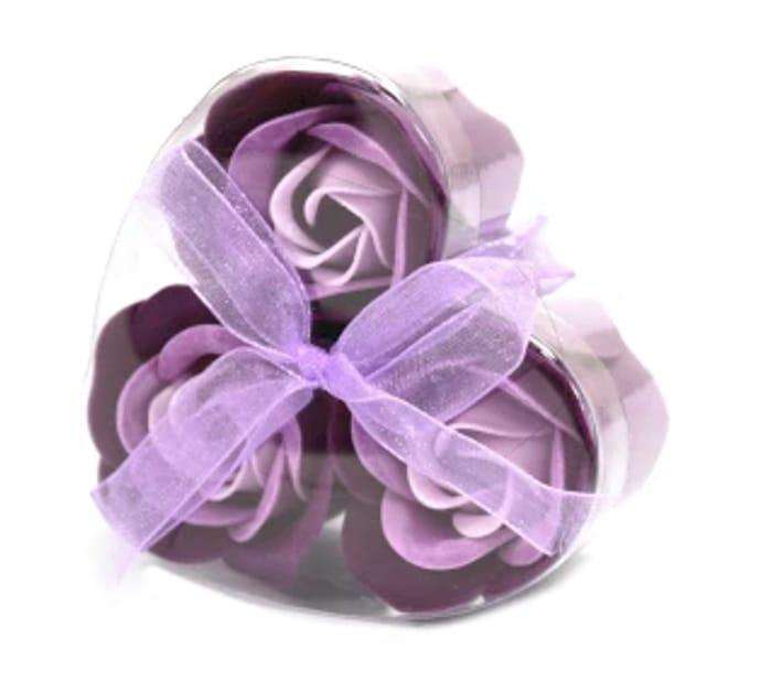 Set of 3 Soap Flower Heart Box