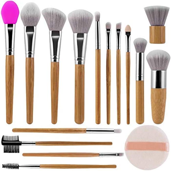 Prime Members: 15Pcs Bamboo Handle Makeup Brushes Set