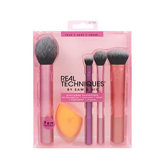 Real Techniques Everyday Essentials Makeup Brush Complete Face Se
