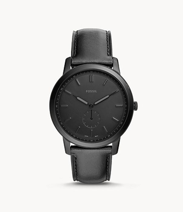 Minimalist Two-Hand Black Leather Watch