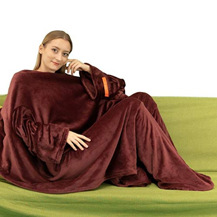 Fleece Blanket with Sleeves & Foot Pockets with £17 off Coupon