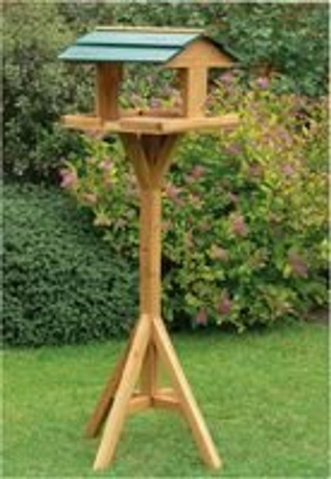 Traditional Wooden Bird Feed Table with Green Roof