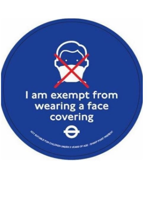 Free Face Covering Exemption Badge *Greater London & South East England