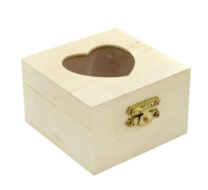 Small Wooden Heart Box - Only £1!