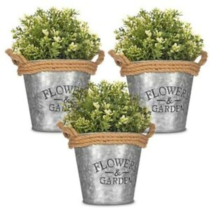 3 X Vintage Zinc Plant Garden Flower Pot