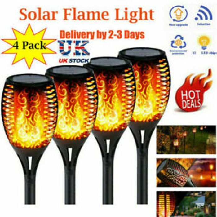 4PCS Waterproof Solar Garden Flame Light