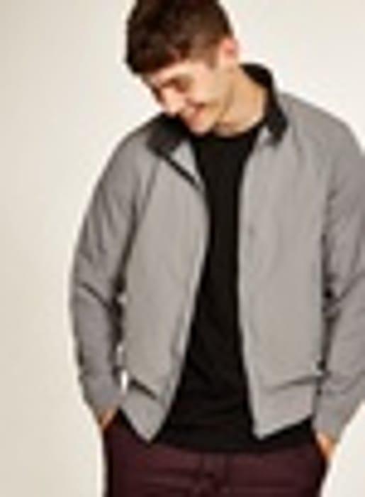 Grey Nylon Harrington Jacket - Free Click & Collect