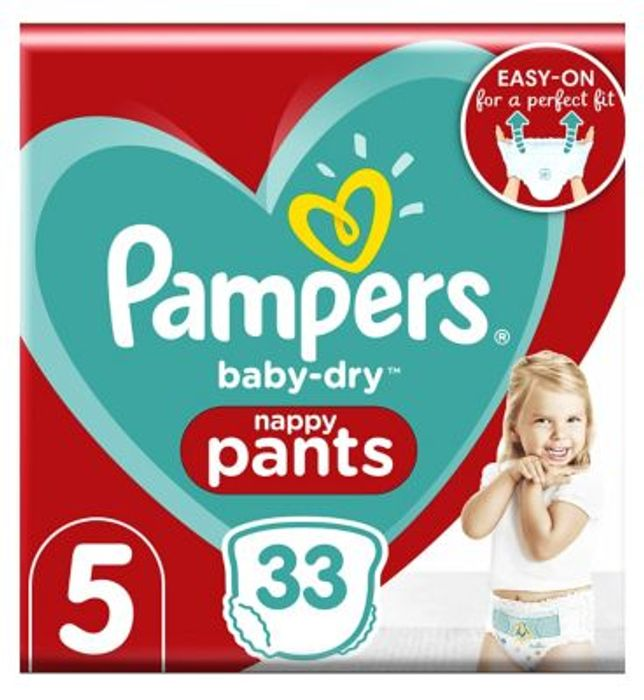 Pampers Baby-Dry Nappy Pants Size Five, 33 Nappies 12kg-17kg